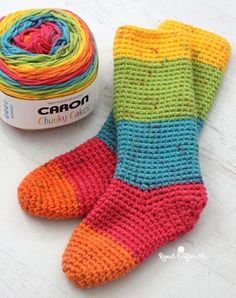 [FREE Pattern] Cozy Crochet Slipper Socks Made with Caron Chunky Cakes Yarn!These slipper socks are so comfy and so easy to crochet!If you're a fan of cozy crochet slipper socks and/or you're on the lookout for great ways to use Caron Chunky Cakes Yarn