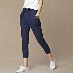 Envío gratis Loose Women diseño Original de lino del Vintage mujer deslumbrante femenino Drawspring puro pantalones