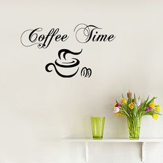 Wall Decals Vinyl Decal Sticker Words Coffee Time by Harmony4Life