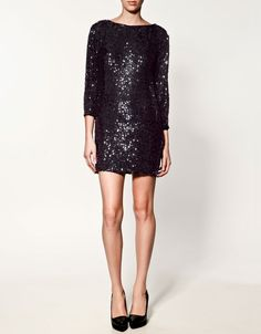 black sequins in a simple silhouette