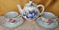 Vintage China Mismatched Tea Set for Two, 5 Pieces, Noritake and more *et #various