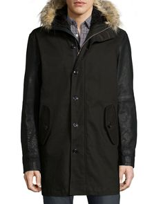 Button-Down Parka with Faux-Fur Lined Hood, Black, Women's, Size: LARGE - John Varvatos Star USA
