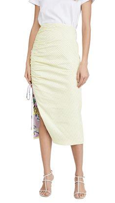 Prabal Gurung Seersucker Side Ruched Skirt In Yellow Yellow Fabric, Prabal Gurung, Seersucker, World Of Fashion, High Waisted Skirt, Feminine, Silk, Clothes For Women, Chic