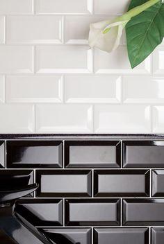 Bevelled black and white tiles