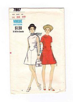 Cocktail Dress, Mini Dress, 1960s Dress Pattern, Vogue Dress Pattern, Bust 36, Vogue Pattern 7807