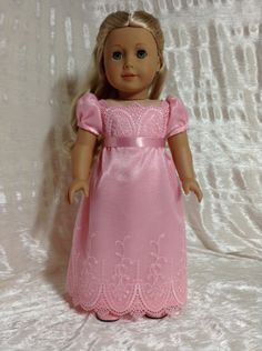 Pink lace Regency dress for Caroline by DollSizeDesigns on Etsy, $69.00