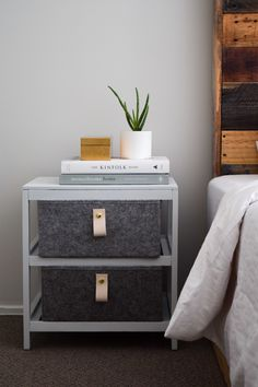 Felt baskets replace the wicker drawers and stylish natural leather handles add a beautiful detail. From dark and wicker to light and felt Scandi-style, this Kmart furniture upcycle is one of our faves! Find all the materials and steps on the blog now!