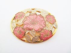 Cloisonné Enamel Large Oval Floral Brooch with Strawberry Pink and Dusky Pink Flowers by Fish