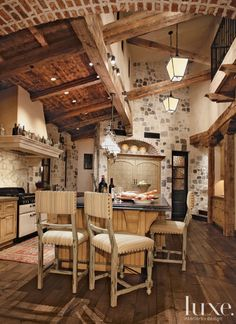 Love the ceiling, especially if mixed with a more modern kitchen #Farmhouse #Kitchen... #Luxe