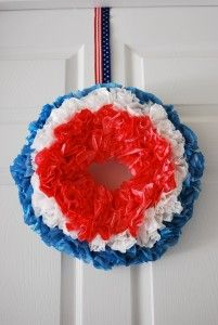4th of July wreath: White coffee filters; Blue & red food coloring; plastic cups; Newspaper; 7″ inch Styrofoam ring (any size will work, 7″ is the size used here; Straight pins OR hot glue gun; pipe cleaner