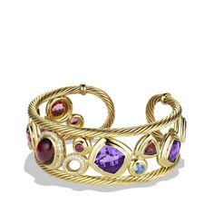 Mosaic Cuff with Rhodolite Garnet and Diamonds in Gold