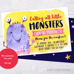 Little Monster Party Invite, Monster Invitation, Customised Printable Invite, Printable Invitation by FoxyLoxyDesign on Etsy Monster Invitations, Printable Invitations, Party Invitations, Invite, Printables, Little Monster Party, Little Monsters, Rsvp, Handmade Gifts
