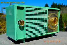 GUITAR AMP - SEA GREEN Mid Century Retro Jetsons Vintage 1959 General Electric Model T-129C Tube Radio Totally Restored!