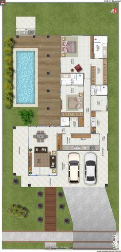 Trendy Ideas For Apartment Floor Plan Studio Loft 2 Bedroom House Plans, Dream House Plans, House Floor Plans, My Dream Home, Layouts Casa, House Layouts, L Shaped House, Sims House, Plan Design