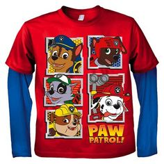 Paw Patrol Toddler Boys' Long Sleeve Twofer Tee - Fire Red