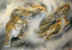 tiger vs dragon by Ozuma Kaname Tiger Dragon, Tiger Painting, Painting Art, Tiger Tattoo, Tattoo Art, Demon Tattoo, Year Of The Tiger, Japan Tattoo, Oriental Tattoo