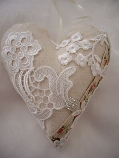 Victorian Heart Available. Shabby Chic Hearts, Heart Cushion, Shabby Chic Fabric, Scented Sachets, Fabric Hearts, Creation Deco, Heart Day, Heart Ornament, Linens And Lace