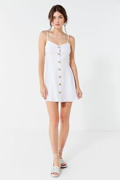 Slide View: 4: UO Button-Down Strappy Back Linen Dress