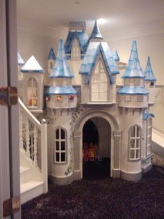 This big indoor playhouse, the Wizard of Oz Castle, is meant for spaces with lots of kids playing at once. Castle Playhouse, Castle Bed, Build A Playhouse, Playhouse Windows, Under Stairs Playhouse, Princess Bedrooms, Princess Room, Disney Princess Bedroom, Disney Bedrooms
