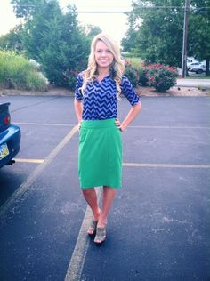 Love blue chevron and kelly green!
