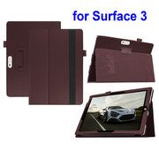 Lichee Pattern Magnetic Flip Stand PU Leather Case for Microsoft Surface 3 with Pen Holder & Elastic Belt Coffee