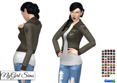 NY Girl Sims: Army Jacket with Tee • Sims 4 Downloads