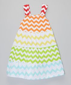 Another great find on #zulily! Rainbow Zigzag Tiered Dress - Toddler & Girls by Made 2 Matche #zulilyfinds