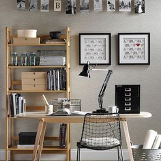 Neutral home office with black accessories | Home office decorating | Ideal Home | Housetohome.co.uk