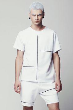 SALE Mens Shirt Mens White Shirt Mens Neoprene Shirt Short Sleeve Shirt Mens Oversized Shirt Minimalist Mens Clothing Unique Mens Shirts