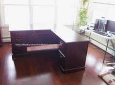 sauder L shaped desk installed in Washington DC by office furniture installation eperts