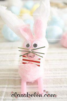 Conejo de Pascua hecho con algodón  Hola a todos, amigos, hoy os traigo una manualidad muy tierna ;)  Es un conejito de Pascua que hice con algodones.    Es delicado pero desprende una gran ternura, así que lo tengo en la