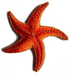 """Amazon.com: [Single Count] Custom and Unique (2"""" Inches) Nautical Ocean Life Starfish Iron On Embroidered Applique Patch {Orange, Red and Gold Colors}"""