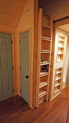 Like how ladder fits over bookcase when not in use.  Floor storage in loft on each side of bed. Corner microwave shelf.