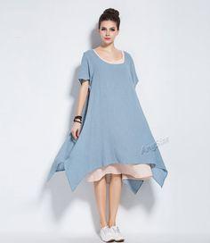 Anysize Two-Piece soft linen&cotton trendy dress plus by AnySize