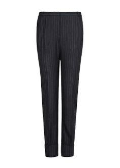 Mango pinstripe navy trousers