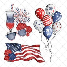 Independance Day Watercolor Clipart, Of July Clipart, America Clipart, Patriotic Clipart, Planne 4th Of July Party, Fourth Of July, Patriotic Party, Patriotic Crafts, July Crafts, 4th Of July Clipart, Peace Poster, Patriotic Images, Hot Dog Bar