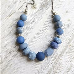 Shades of Blues handmade necklace polymer clay necklace