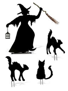 Outdoor Halloween Decorations | House & Home through Martha Stewart. Witch is $160 and cats are $60,