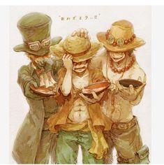 One piece - Ace, Sabo, Luffy One Piece Manga, One Piece Ace, One Piece Comic, One Piece Fanart, One Piece Luffy, Manga Anime, Film Manga, Me Anime, Anime Art