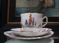 art deco rare ROYAL ALBERT Happyland Bone China Trio c1930s : High Tea Glamour