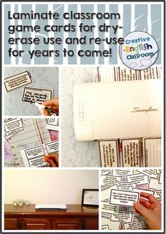 For those who use Creative English Classroom games in their English classes, consider using dry-erase markers on the laminated cards for years of re-use!