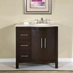 36 Inch bathroom vanity with an offset sink for unique plumbing needs!