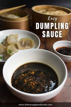 An easy and quick dumpling dipping sauce that will lift your favorite homemade or store-bought Chinese dumplings to a whole a new level! Chinese Dumpling Sauce Recipe, Dipping Sauce For Dumplings, Gyoza Dipping Sauce Recipe, Thai Dipping Sauce, Dipping Sauces, Ramen Recipes, Sauce Recipes, Cooking Recipes, Yummy Recipes