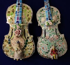 mosaic violins by Lynette Thomas
