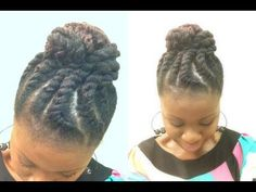 Double strand flat twist  Styling techniques: Comb, binders, section hair into desired partings and twist two strands around one another continuously adding hair into twist onto the head.  Styling products: Brilliant damage control prep, brilliant retexturizing gel, brilliant spray on shine