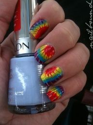 Primary Color Tie Dye Nail Art