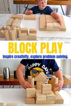 block play for kids. Set this invitation to play as your next Breakfast Invitation or save for a fun indoor activity. Your preschooler will be sure to create something fun! Preschool Learning Toys, Play Based Learning, Indoor Activities For Kids, Preschool Activities, Block Play, Building For Kids, Creative Kids, Kids Playing, Create
