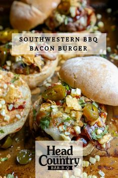 Southwestern BBQ Bacon Burger recipe with toppings and sauce makes for a juicy burger on the grill. Bbq Chicken Dip, Chicken Pizza Recipes, Hot Dog Recipes, Top Recipes, Head Country Bbq Sauce Recipe, Slaw Recipes, Sauce Recipes, Classic Potato Salad, Burger Toppings