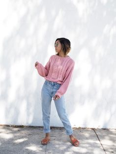 CHUNKY PINK KNIT - Unconscious Style @shhtephs  Chunky Pink Knit Sweater – H&M   Mom Jeans – Thrifted (Guess)   Sadie Suede Crosside Strap Sandal –Urban Outfitters   Round Metal Sunglasses – Ray Ban