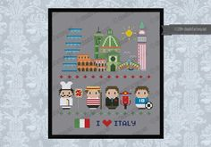 Italy icons (big version) - Mini people around the world - Mini People - Cross Stitch Patterns - Products